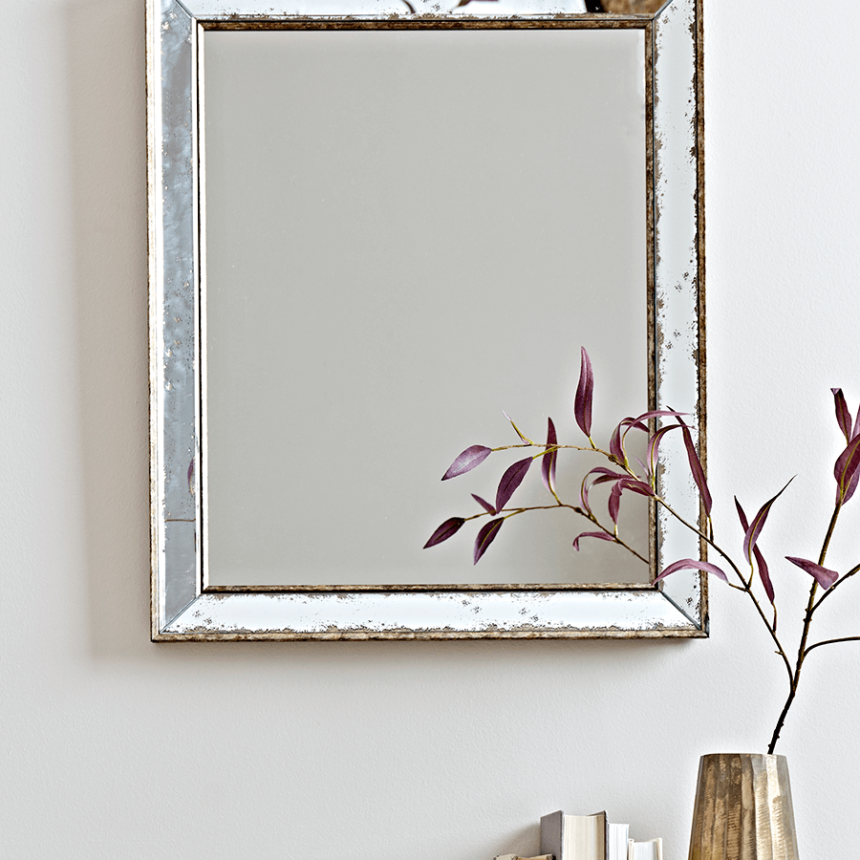 Antiqued Glass Frame Mirror - Large
