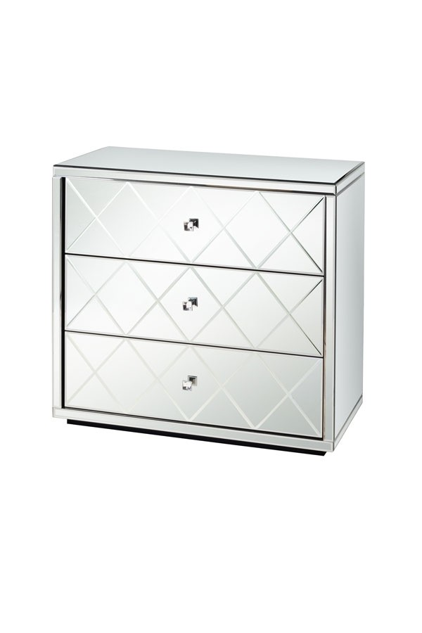 KNIGHTSBRIDGE Mirrored Low Chest with 3 Drawers and Plinth