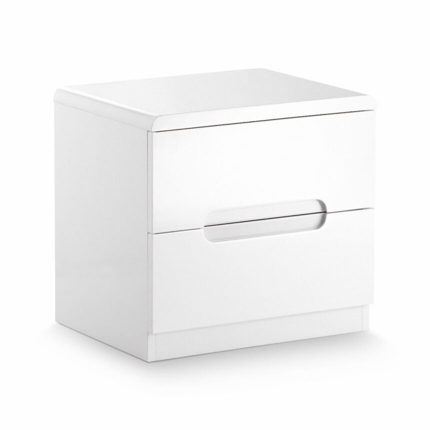 London White High Gloss 2 Drawer Bedside Chest