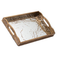 Augustus Large Mirrored Tray With Marbling Effect