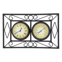 Bentley Garden Black Ornate Wall Frame Clock & Thermometer