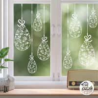 10 x Chinoiserie Easter Egg Window Decals - Clear - Large Set