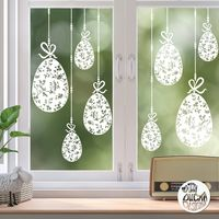 10 x Chinoiserie Easter Egg Window Decals - White - Large Set