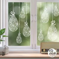 10 x Floral Easter Egg Window Decals - Clear - Large Set
