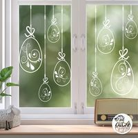 10 x Swirl Easter Egg Window Decals - Clear - Large Set
