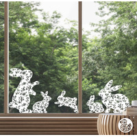 5 x Bunny Window Decals - Chinoiserie White - Large