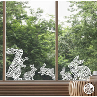 5 x Bunny Window Decals - Floral White - Large