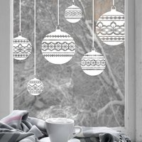 8 x Nordic Baubles Christmas Window Decals - Large Set