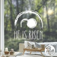 'He Is Risen' Easter Window Decal - Chalk effect - Large / Read from inside
