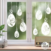 10 x Swirl Easter Egg Window Decals - White - Large Set